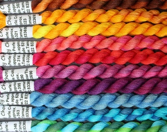 Hand Dyed Thread - Fine Cotton Perle for Embroidery, Quilting, Lacemaking - Variegated Shades