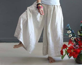 8645e730c78 Casual Loose Fitting Linen Wide Leg Pants- Women Clothing