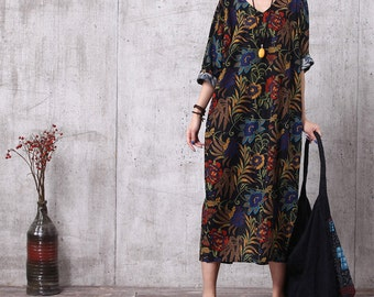 09400f3a4cd Casual Loose Fitting Cotton Long Dress Blouse- Women Maxi dress -L