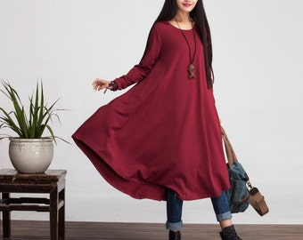 2168f4d946f Loose Fitting Cotton Long Shirt Blouse Dress for Women - Long Sleeved Women  Clothing