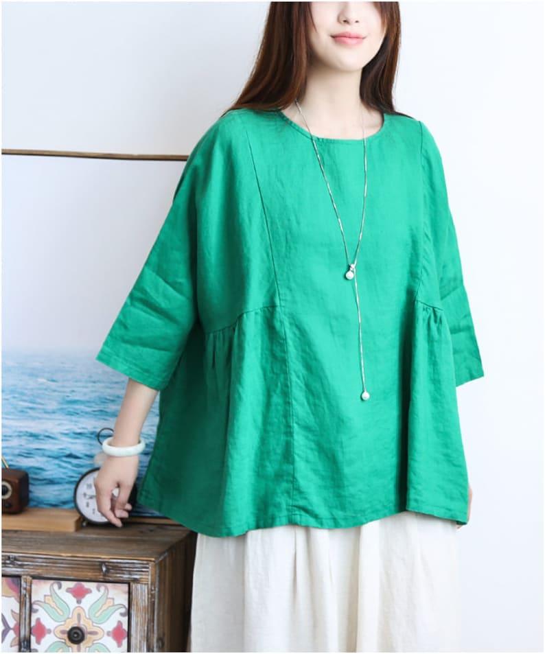 Women Top Women Clothing R Loose Fitting Cotton Shirt Blouse for Women