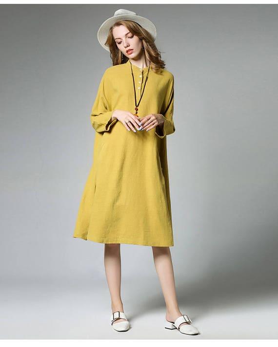 3ecb18f9041 Loose Fitting Short Sleeve Linen Cotton Maxi Dress Women