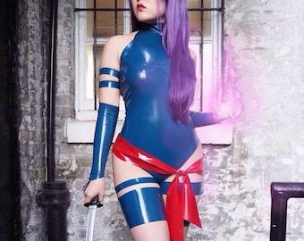 Latex Psylocke Inspired Cosplay Costume