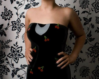 Latex Rubber Cherry Applique Strapless Dress, Pin up and Rockabilly