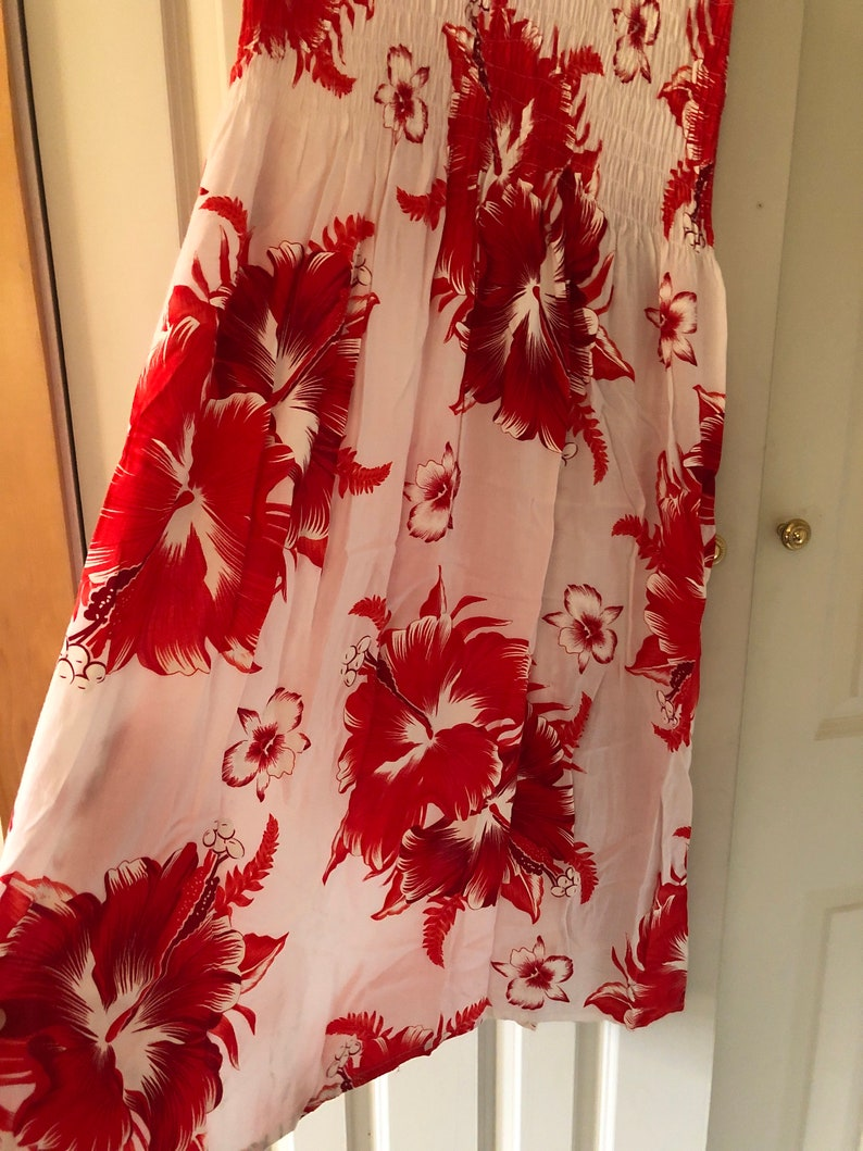 Red and White Hawaiian Hibiscus Dress