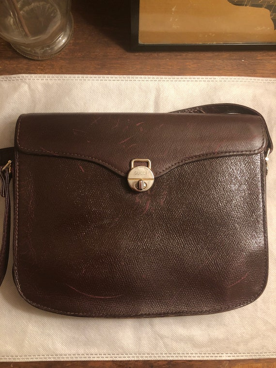 Vintage 1970s Gucci Brown Leather Shoulder Bag - image 7