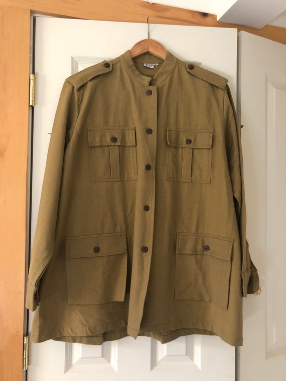 1970s Colonel Linen Military Green Army Utility Ja