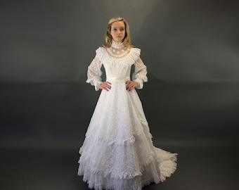 d96a9f708fa 1980s Long Bishop Sleeved Modest Wedding Dress