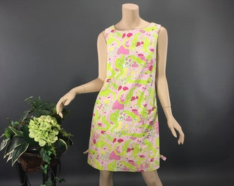 977ee916a855b0 Lilly Pulitzer 90's Alligator Dress, Preppy Summer Beach Shift, Size S to M