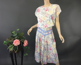 3fd7b4aea2 1980s Pastel Floral Cotton Dress With Pockets