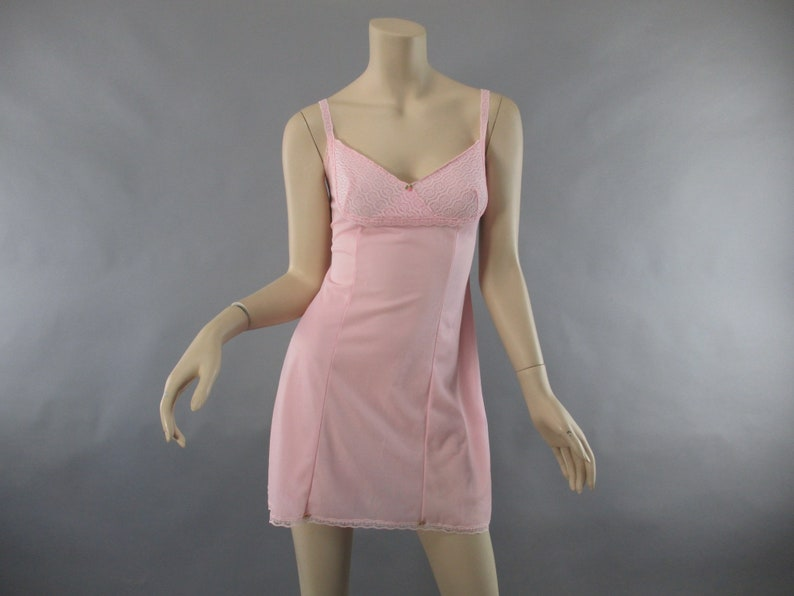 Pink slip s mini slip chiffon lace saint michael vintage etsy