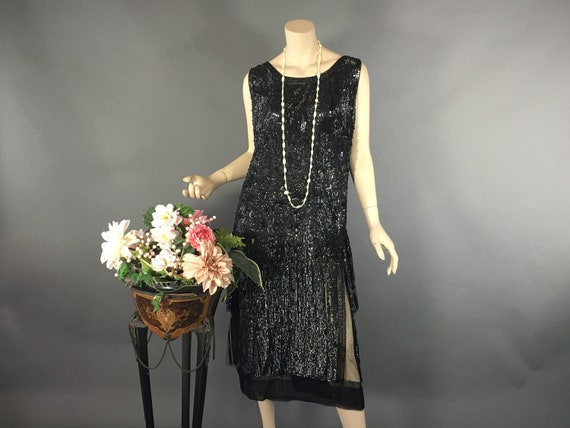1920s Sequin Dress,Vintage Size L Authentic Flappe
