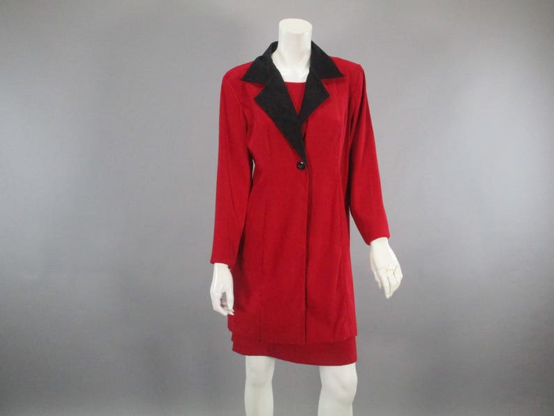 02c271ed701e Vintage 80s 2 Piece Set Red Black Dress Coat Suit Size M