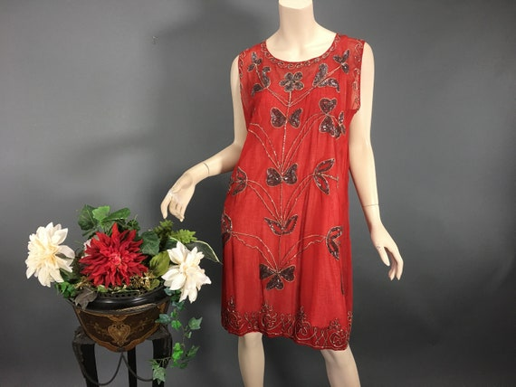 1920s Red Beaded Dress, Vintage Chiffon Silver Bea
