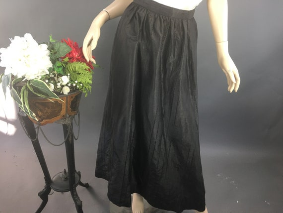 Edwardian Black Skirt, 1910 Striped Taffeta Skirt,