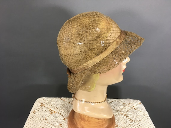 1930's Gold Slouch Hat, Vintage 30's Woven Metalli