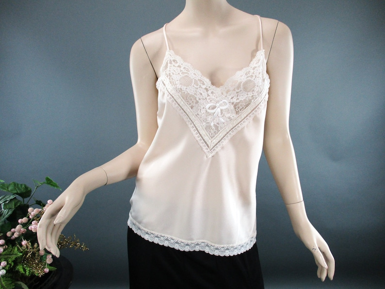 a80e9f78d Vintage 70s Christian Dior Camisole White Lace and Blush