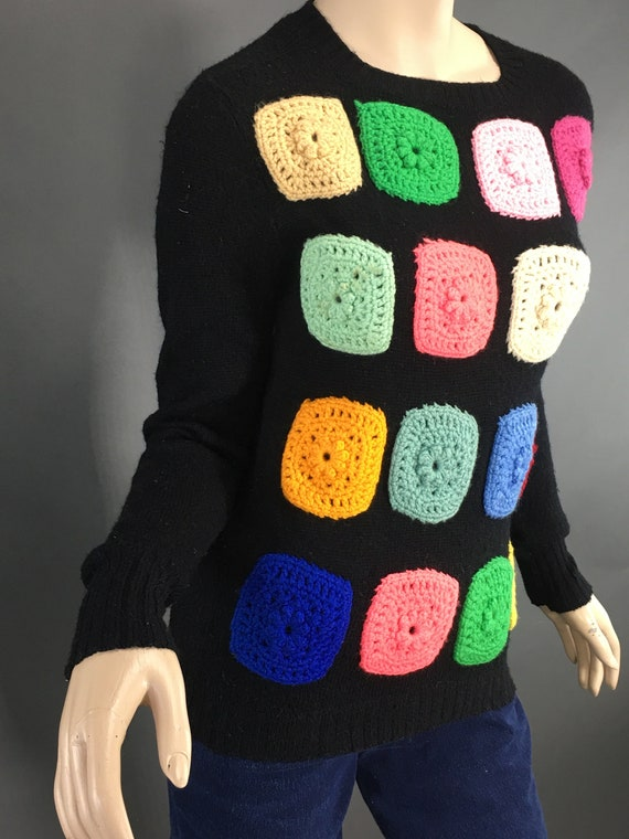 Vintage Granny Square Sweater, 1970s Black Wool M… - image 7