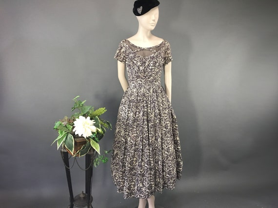 1950's Jay Thorpe Novelty Print Dress, Small Vinta