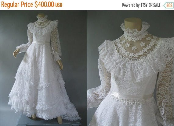 1980s Wedding Dress White Lace Bridal Gown Victorian Style Etsy