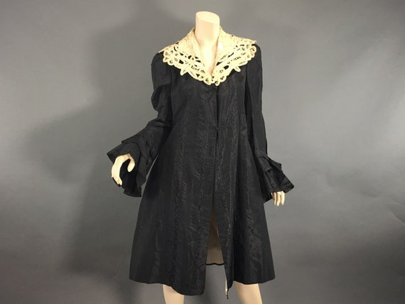 Edwardian Black Duster Battenburg Lace, Antique Sh