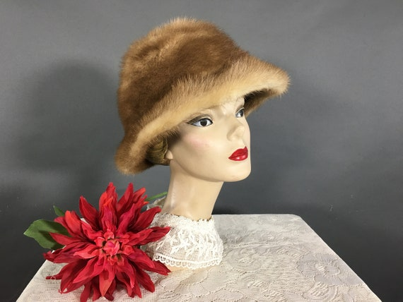 Vintage Adolfo Mink Hat, 1960s Winter Fur Bucket H