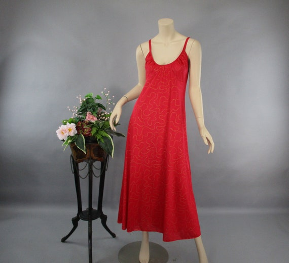 f66ec3d2d41 Vintage Nightgown 70s Long Nightgown Red and Gold Nylon