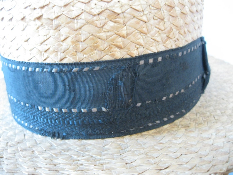 c1a3ebd9d01 Men s Straw Hat Antique 1920s Gatsby Style Hat