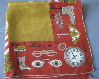 Vintage TAMMIS KEEFE  Hanky - 1940s Silk Main Street Hankie  -Signed  Designer Handkerchief