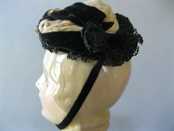Victorian Bonnet Black Tan Velvet, Jet Beading Rhi