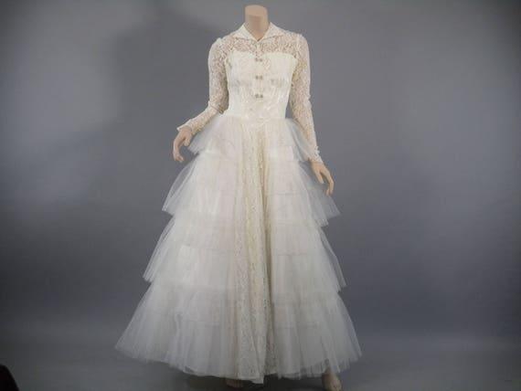 50s Lace Wedding Dress 1950s Wedding Gown Cupcake Dress | Etsy