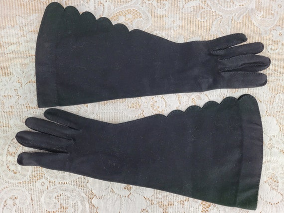 Vintage Lilly Dache Gloves, 1950s Black Cotton Elb