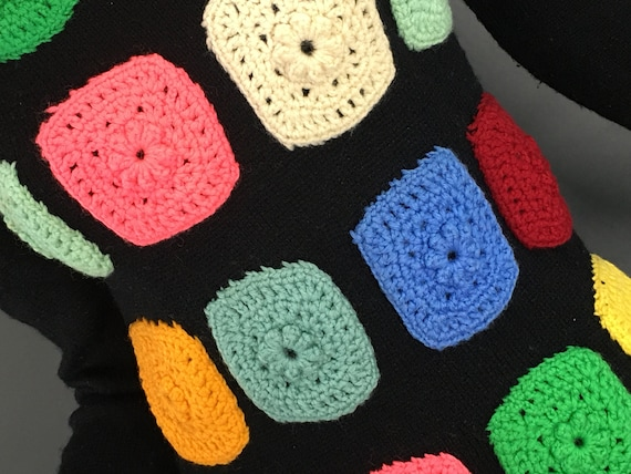 Vintage Granny Square Sweater, 1970s Black Wool M… - image 5