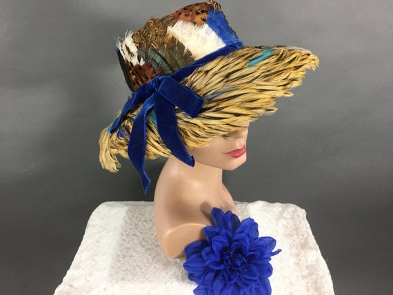 1950s Blue Feather Hat, Vintage Bucket Hat, Mid ce