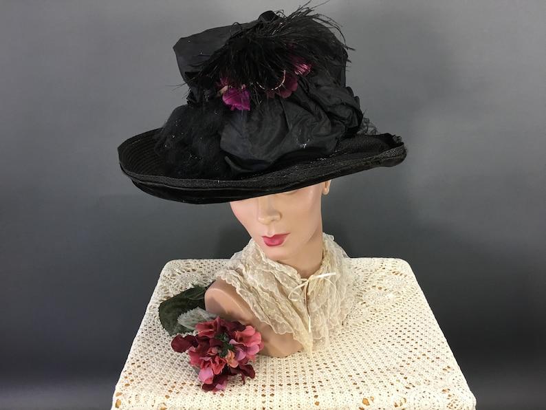 e56325872 RESERVED LAntique Large Brim Hat, Edwardian Black Straw Feathers, Purple  Ribbon, Mourning Hat