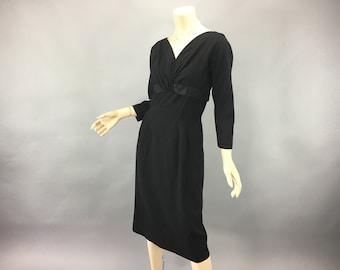 l950s Wiggle Dress Vintage Large Abe Schrader Black Wool Dress Satin Trim