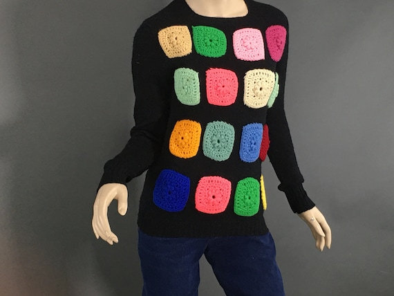 Vintage Granny Square Sweater, 1970s Black Wool M… - image 2