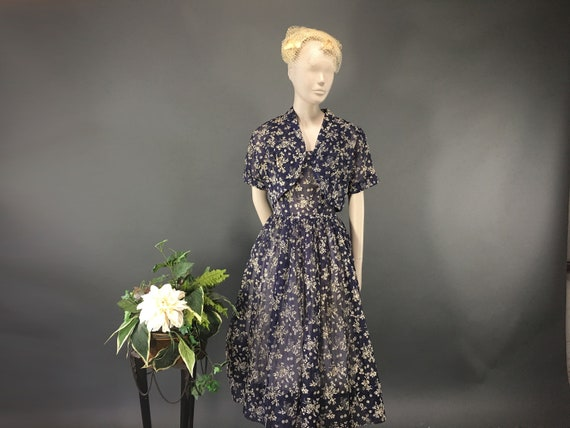 1950s Floral Dress with Bolero, Vintage M Sheer Na