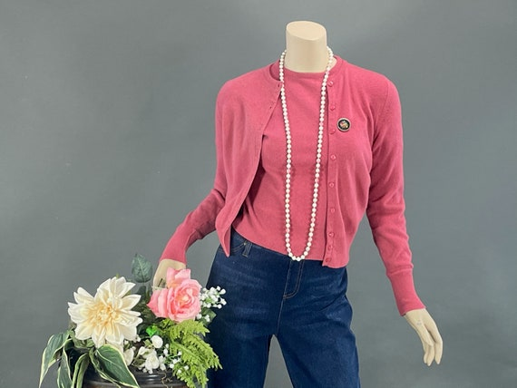 1950s Rose Pink Lambswool Cardigan Set, Vintage 50