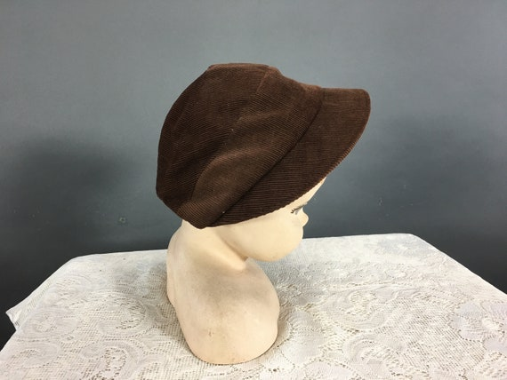 Vintage 1930s Childs Hat, Brown Corduroy Unisex Ca