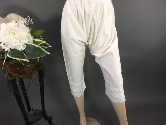 Antique White Bloomers, Open Crotch Drawers,Edward