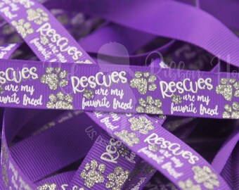 Grosgrain Ribbon Dog Bones on Purple /& Black Canine Rescue Collars Wreaths 1.5/""