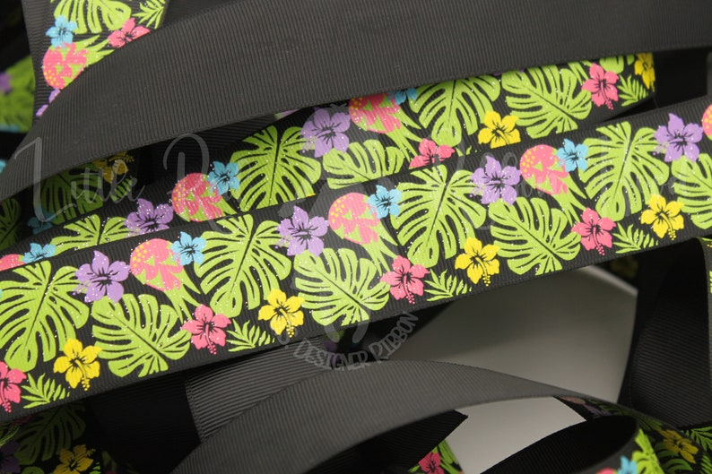 Tropical Forest 78 and 1.5 Grosgrain Ribbon 5 Yd Roll