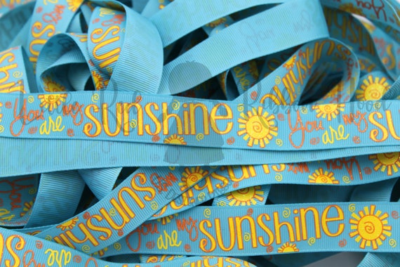3 yards 78 You are my Sunshine Glitter Yellow and Pink grosgrain ribbon
