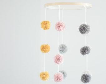 Pom Pom Crib Mobile. Kids Room Decor. Embroidery Hoop Mobile. Nursery Decor.