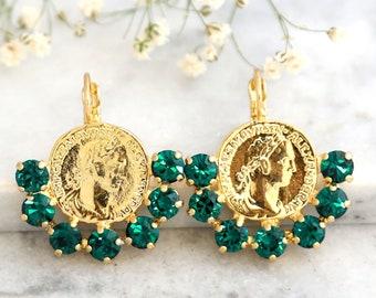 Vintage Style Earrings Emerald Drop Earrings Greek Coin Earrings Emerald Gold Earrings Bridal Boho Earrings Gold Coin Drop Earrings