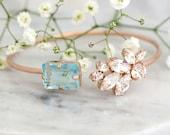 Aquamarine Bracelet, Bridal Bracelet, Bridal Blue Cuff Bracelet, Swarovski Rose Gold Crystal Bracelet, Light Blue Bracelet, Bridesmaids Gift