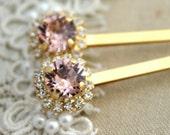 Vintage Pink blush light peach Bridal Bobby pins Swarovski crystal  Rhinestone hair accessories - 14k Gold plated aqua pink crystals