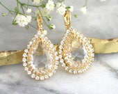 Bridal Earrings, Bridal Drop Earrings, Crystal Swarovski Bridal Earrings, Gift For Her, Teardrop Dangle Earrings, Bridesmaids Earrings