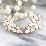 Bridal Rose Gold earrings, Swarovski Crystal Climbing earrings, Bridal Cluster Studs, Swarovski Bridal earrings, White Crystal Earrings